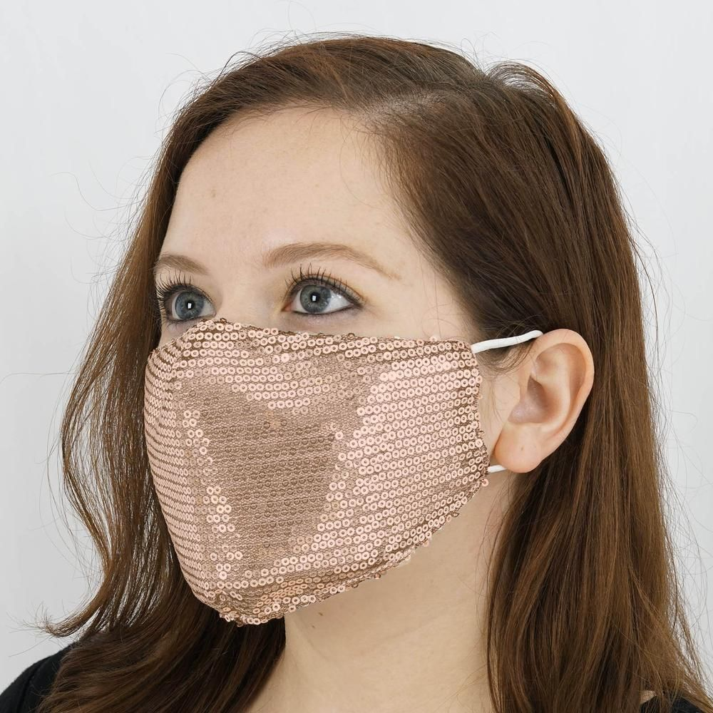 Rose Gold Sequin Mask